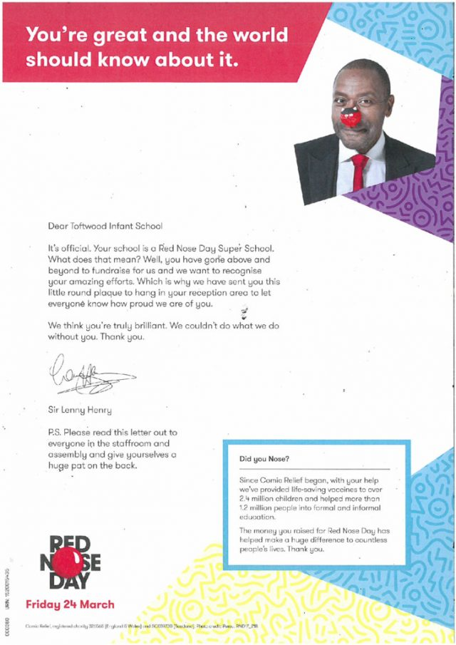 thumbnail of Red Nose Day Super School letter